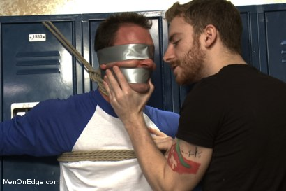 Photo number 2 from Captured Baseball Stud gets Edged in the Locker Room shot for Men On Edge on Kink.com. Featuring Cameron Kincade in hardcore BDSM & Fetish porn.