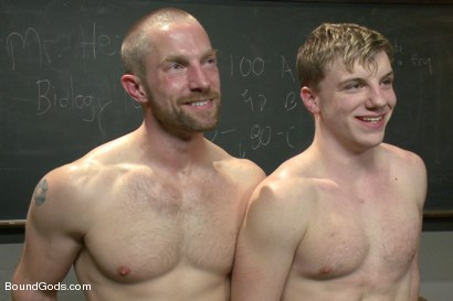Photo number 15 from Big cock jock gets fucked and paddled by his biology teacher shot for Bound Gods on Kink.com. Featuring Adam Herst and Doug Acre in hardcore BDSM & Fetish porn.