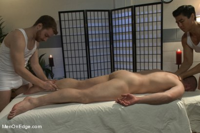 Photo number 3 from Special Four Hand Massage  shot for Men On Edge on Kink.com. Featuring Adam Herst in hardcore BDSM & Fetish porn.