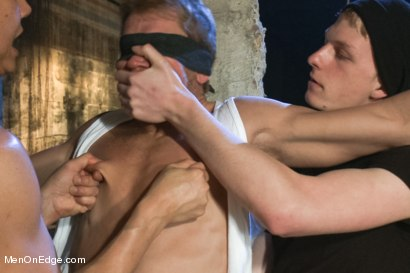 Photo number 1 from Captured dock worker gets jacked up by two perverts shot for Men On Edge on Kink.com. Featuring Alex Adams in hardcore BDSM & Fetish porn.