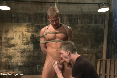 Photo number 6 from Captured dock worker gets jacked up by two perverts shot for Men On Edge on Kink.com. Featuring Alex Adams in hardcore BDSM & Fetish porn.