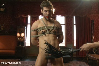 Photo number 5 from Super Hunk Andrew Blue Bound and Begging to Cum shot for Men On Edge on Kink.com. Featuring Andrew Blue in hardcore BDSM & Fetish porn.