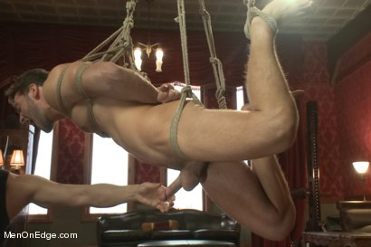 Photo number 7 from Super Hunk Andrew Blue Bound and Begging to Cum shot for Men On Edge on Kink.com. Featuring Andrew Blue in hardcore BDSM & Fetish porn.