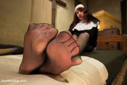Photo number 9 from Classic Archive: A Convent Of Foot Sinners: Footsploitation, Nunsploitation, Blasphemy and FULL FOOT shot for Foot Worship on Kink.com. Featuring Maitresse Madeline Marlowe  and Gia DiMarco in hardcore BDSM & Fetish porn.