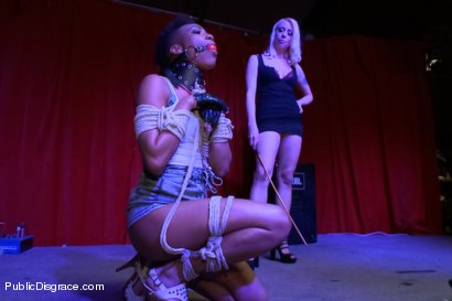 Photo number 2 from Nikki Darling DISGRACED ON STAGE: FISTED, FOOTED, AND FUCKED!!!! shot for Public Disgrace on Kink.com. Featuring Ramon Nomar, Nikki Darling and Lorelei Lee in hardcore BDSM & Fetish porn.