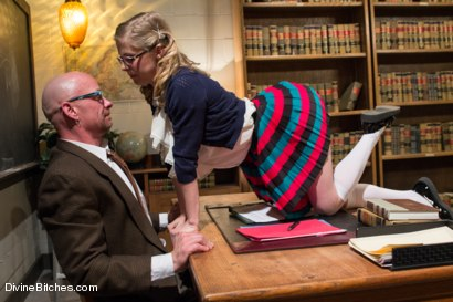 Photo number 2 from Bratty Princess Penny cuckolds her teacher in front of the class! shot for Divine Bitches on Kink.com. Featuring Penny Pax, Christian Wilde and Chad Rock in hardcore BDSM & Fetish porn.