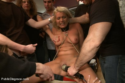 Photo number 4 from Hot Blonde Girl gets Disgraced at a house Party shot for Public Disgrace on Kink.com. Featuring John Strong and Layla Price in hardcore BDSM & Fetish porn.