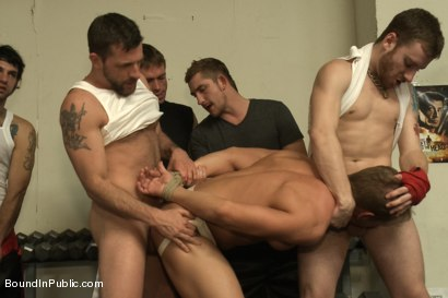 Photo number 14 from Loudmouth muscle-head gets taken down and gang fucked at a boxing gym shot for Bound in Public on Kink.com. Featuring Alex Adams, Morgan Black and Dayton O'Connor in hardcore BDSM & Fetish porn.