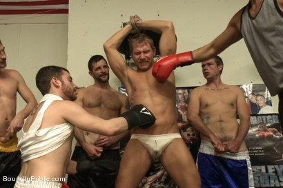 Photo number 8 from Loudmouth muscle-head gets taken down and gang fucked at a boxing gym shot for Bound in Public on Kink.com. Featuring Alex Adams, Morgan Black and Dayton O'Connor in hardcore BDSM & Fetish porn.