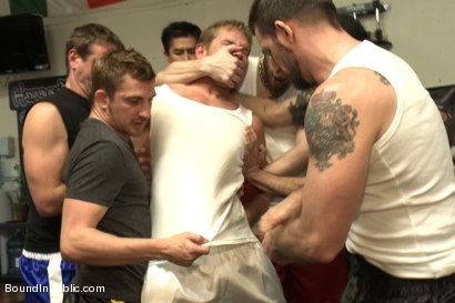 Photo number 2 from Loudmouth muscle-head gets taken down and gang fucked at a boxing gym shot for Bound in Public on Kink.com. Featuring Alex Adams, Morgan Black and Dayton O'Connor in hardcore BDSM & Fetish porn.