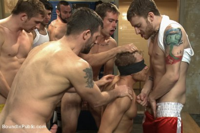 Photo number 1 from Loudmouth Gym Freak Fucked and Pissed on in Boxing Gym Locker Room  shot for Bound in Public on Kink.com. Featuring Alex Adams, Morgan Black and Dayton O'Connor in hardcore BDSM & Fetish porn.