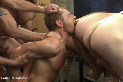 Photo number 4 from Loudmouth Gym Freak Fucked and Pissed on in Boxing Gym Locker Room  shot for Bound in Public on Kink.com. Featuring Alex Adams, Morgan Black and Dayton O'Connor in hardcore BDSM & Fetish porn.