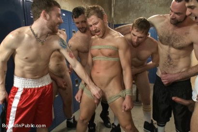Photo number 5 from Loudmouth Gym Freak Fucked and Pissed on in Boxing Gym Locker Room  shot for Bound in Public on Kink.com. Featuring Alex Adams, Morgan Black and Dayton O'Connor in hardcore BDSM & Fetish porn.