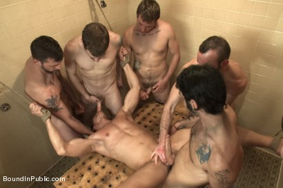 Photo number 11 from Loudmouth Gym Freak Fucked and Pissed on in Boxing Gym Locker Room  shot for Bound in Public on Kink.com. Featuring Alex Adams, Morgan Black and Dayton O'Connor in hardcore BDSM & Fetish porn.
