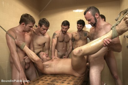 Photo number 14 from Loudmouth Gym Freak Fucked and Pissed on in Boxing Gym Locker Room  shot for Bound in Public on Kink.com. Featuring Alex Adams, Morgan Black and Dayton O'Connor in hardcore BDSM & Fetish porn.