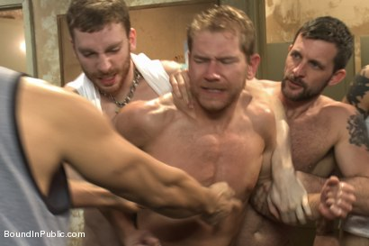 Photo number 7 from Loudmouth Gym Freak Fucked and Pissed on in Boxing Gym Locker Room  shot for Bound in Public on Kink.com. Featuring Alex Adams, Morgan Black and Dayton O'Connor in hardcore BDSM & Fetish porn.