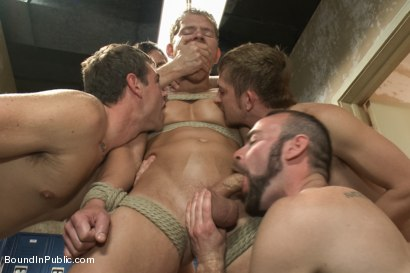Photo number 3 from Loudmouth Gym Freak Fucked and Pissed on in Boxing Gym Locker Room  shot for Bound in Public on Kink.com. Featuring Alex Adams, Morgan Black and Dayton O'Connor in hardcore BDSM & Fetish porn.