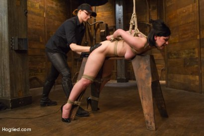 Photo number 15 from Pale Big Breasted Brunette Beauty Gets Anal Cherry Taken shot for Hogtied on Kink.com. Featuring Belle Noire in hardcore BDSM & Fetish porn.