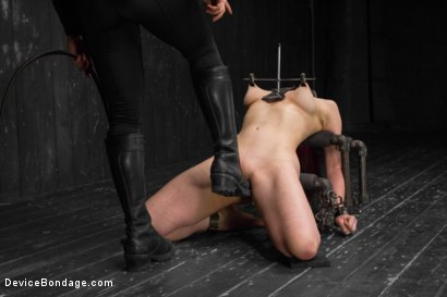 Photo number 10 from Nerine takes it all! Intense immobilizing positions  shot for Device Bondage on Kink.com. Featuring Nerine Mechanique in hardcore BDSM & Fetish porn.