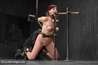 Photo number 14 from Nerine takes it all! Intense immobilizing positions  shot for Device Bondage on Kink.com. Featuring Nerine Mechanique in hardcore BDSM & Fetish porn.