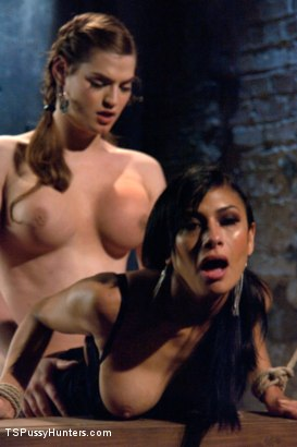 Photo number 12 from Bound and Switch: Two Girls, One Cock and One Pussy shot for TS Pussy Hunters on Kink.com. Featuring Tiffany Starr and Beretta James in hardcore BDSM & Fetish porn.