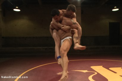 """Photo number 5 from Marcus """"Titan"""" Ruhl vs Jeremy """"Stonewall"""" Stevens - Muscled Oil Match! shot for Naked Kombat on Kink.com. Featuring Marcus Ruhl and Jeremy Stevens in hardcore BDSM & Fetish porn."""
