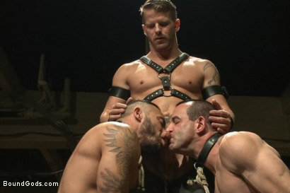 Photo number 2 from Turn That Frown Upside Down - Live Shoot shot for Bound Gods on Kink.com. Featuring Van Darkholme, Jason Miller, Alessio Romero and Jeremy Stevens in hardcore BDSM & Fetish porn.