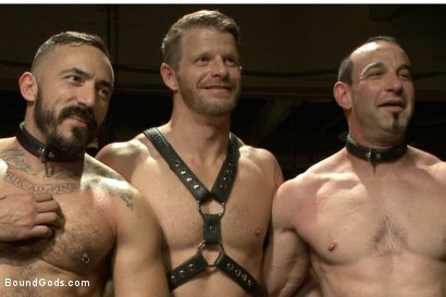 Photo number 15 from Turn That Frown Upside Down - Live Shoot shot for Bound Gods on Kink.com. Featuring Van Darkholme, Jason Miller, Alessio Romero and Jeremy Stevens in hardcore BDSM & Fetish porn.