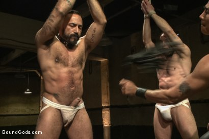 Photo number 1 from Turn That Frown Upside Down - Live Shoot shot for Bound Gods on Kink.com. Featuring Van Darkholme, Jason Miller, Alessio Romero and Jeremy Stevens in hardcore BDSM & Fetish porn.