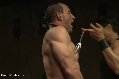 Photo number 5 from Turn That Frown Upside Down - Live Shoot shot for Bound Gods on Kink.com. Featuring Van Darkholme, Jason Miller, Alessio Romero and Jeremy Stevens in hardcore BDSM & Fetish porn.