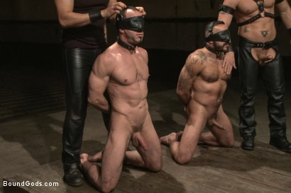 Photo number 6 from Turn That Frown Upside Down - Live Shoot shot for Bound Gods on Kink.com. Featuring Van Darkholme, Jason Miller, Alessio Romero and Jeremy Stevens in hardcore BDSM & Fetish porn.