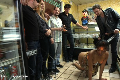 Photo number 14 from Bakery Disgrace shot for Public Disgrace on Kink.com. Featuring Yasmine de Leon and Xander Corvus in hardcore BDSM & Fetish porn.