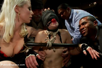Photo number 14 from THE LAST LAUGH: Audience of 70 Humiliates Juliette March, Giggling Tight Bodied Whore!! shot for Public Disgrace on Kink.com. Featuring Lorelei Lee, Juliette March, Karlo Karrera, Mickey Mod and Mia Gold in hardcore BDSM & Fetish porn.