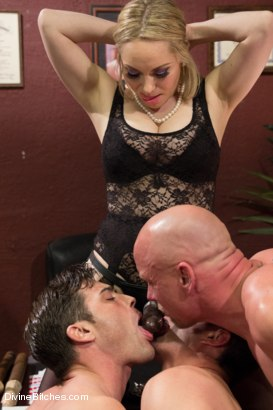 Photo number 4 from The Divine Bitches Corporation takes over LIVE!! shot for Divine Bitches on Kink.com. Featuring Cameron Kincade, Aiden Starr, Maitresse Madeline Marlowe , Chad Rock and Lance Hart in hardcore BDSM & Fetish porn.