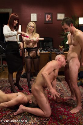 Photo number 13 from The Divine Bitches Corporation takes over LIVE!! shot for Divine Bitches on Kink.com. Featuring Cameron Kincade, Aiden Starr, Maitresse Madeline Marlowe , Chad Rock and Lance Hart in hardcore BDSM & Fetish porn.