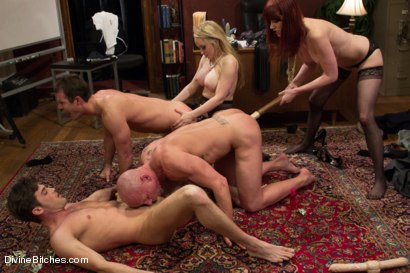 Photo number 8 from The Divine Bitches Corporation takes over LIVE!! shot for Divine Bitches on Kink.com. Featuring Cameron Kincade, Aiden Starr, Maitresse Madeline Marlowe , Chad Rock and Lance Hart in hardcore BDSM & Fetish porn.