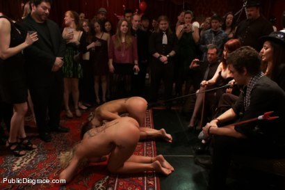 Photo number 13 from Happy Birthday Princess Donna!! BOW TO THE CATTLE PROD!!! (Part One) shot for Public Disgrace on Kink.com. Featuring Syren de Mer, Xander Corvus, Simone Sonay, Maitresse Madeline Marlowe  and Princess Donna Dolore in hardcore BDSM & Fetish porn.