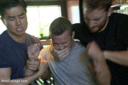 Photo number 2 from Muscled Bartender Gets Taken Down, Bound and Edged  shot for Men On Edge on Kink.com. Featuring Landon Conrad in hardcore BDSM & Fetish porn.
