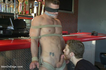 Photo number 5 from Muscled Bartender Gets Taken Down, Bound and Edged  shot for Men On Edge on Kink.com. Featuring Landon Conrad in hardcore BDSM & Fetish porn.