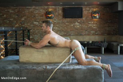 Photo number 11 from Muscled Bartender Gets Taken Down, Bound and Edged  shot for Men On Edge on Kink.com. Featuring Landon Conrad in hardcore BDSM & Fetish porn.