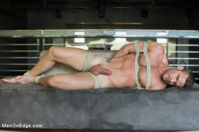 Muscled Bartender Gets Taken Down, Bound and Edged