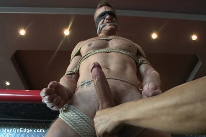 Photo number 7 from Muscled Bartender Gets Taken Down, Bound and Edged  shot for Men On Edge on Kink.com. Featuring Landon Conrad in hardcore BDSM & Fetish porn.