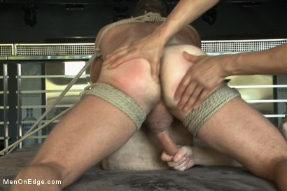 Photo number 9 from Muscled Bartender Gets Taken Down, Bound and Edged  shot for Men On Edge on Kink.com. Featuring Landon Conrad in hardcore BDSM & Fetish porn.