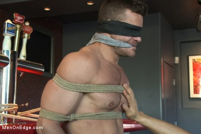 Photo number 4 from Muscled Bartender Gets Taken Down, Bound and Edged  shot for Men On Edge on Kink.com. Featuring Landon Conrad in hardcore BDSM & Fetish porn.