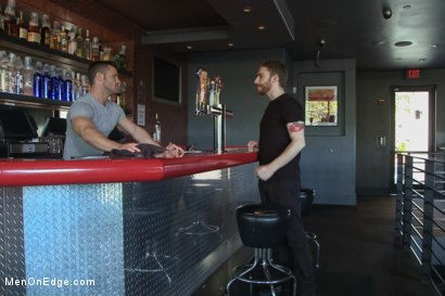 Photo number 1 from Muscled Bartender Gets Taken Down, Bound and Edged  shot for Men On Edge on Kink.com. Featuring Landon Conrad in hardcore BDSM & Fetish porn.