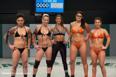 Photo number 15 from Season 10's First Tag Team Match: Team Dragon vs. Team Nightmare RND 1 shot for Ultimate Surrender on Kink.com. Featuring Penny Barber, Serena Blair, Syd Blakovich, DragonLily, Isis Love and Bella Wilde in hardcore BDSM & Fetish porn.