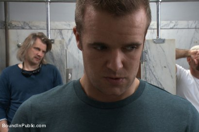 Photo number 2 from Straight stud gets gang fucked in a crowded cruising bathroom  shot for boundinpublic on Kink.com. Featuring Connor Patricks, Jessie Colter and Bryan Cole in hardcore BDSM & Fetish porn.