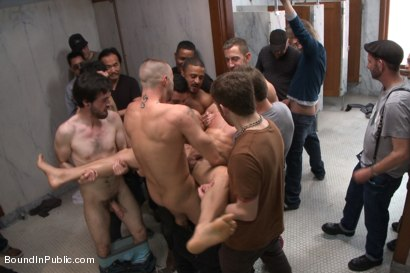 Photo number 13 from Straight stud gets gang fucked in a crowded cruising bathroom  shot for boundinpublic on Kink.com. Featuring Connor Patricks, Jessie Colter and Bryan Cole in hardcore BDSM & Fetish porn.