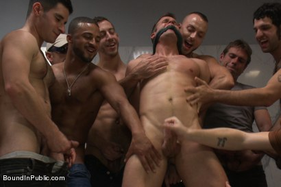 Photo number 14 from Straight stud gets gang fucked in a crowded cruising bathroom  shot for boundinpublic on Kink.com. Featuring Connor Patricks, Jessie Colter and Bryan Cole in hardcore BDSM & Fetish porn.
