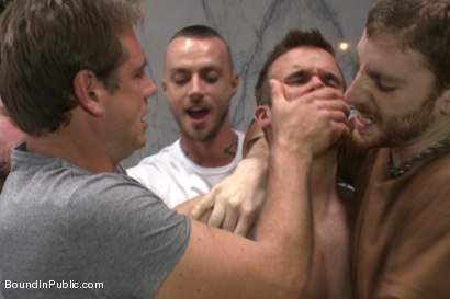 Photo number 3 from Straight stud gets gang fucked in a crowded cruising bathroom  shot for boundinpublic on Kink.com. Featuring Connor Patricks, Jessie Colter and Bryan Cole in hardcore BDSM & Fetish porn.